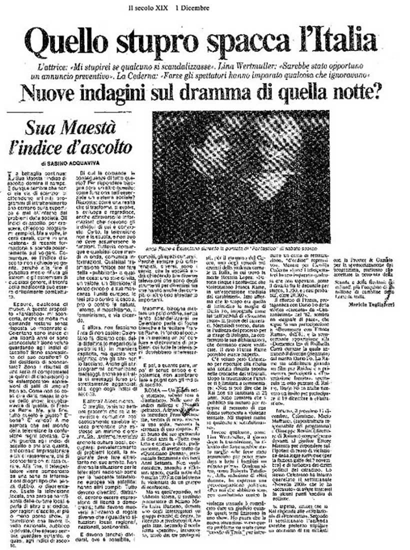 Artykuł o śledztwie w sprawie Franki Rame