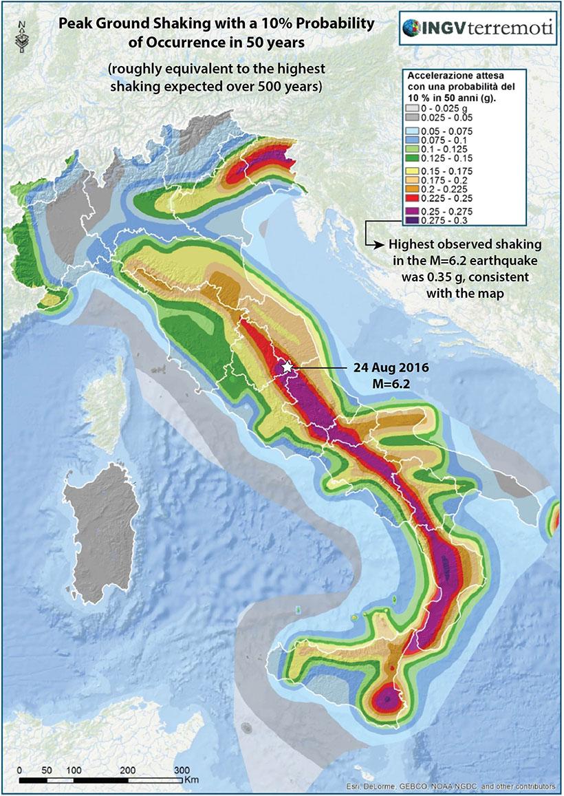 Mapa aktywności sejsmicznej Włoch