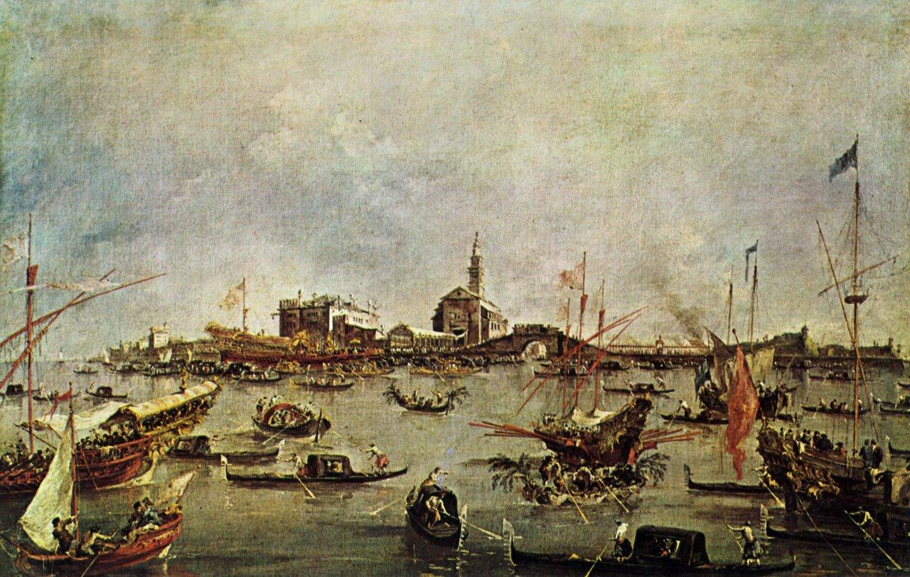 Francesc Guardi, Sposalizio del Mare (XVIII w.), w tle kościół i klasztor św. Mikołaja na wyspie Lido koło Wenecji