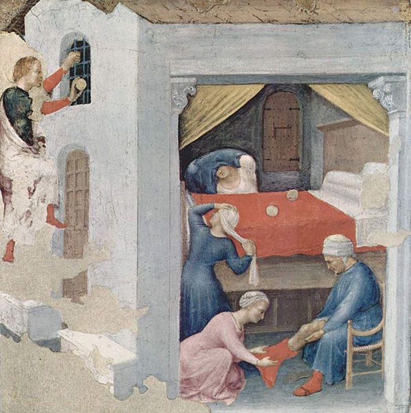 Gentile da Fabriano, San Nicola dona tre palle d'oro alle fanciulle povere, ca. 1425, Pinacoteca Vaticana, Rzym