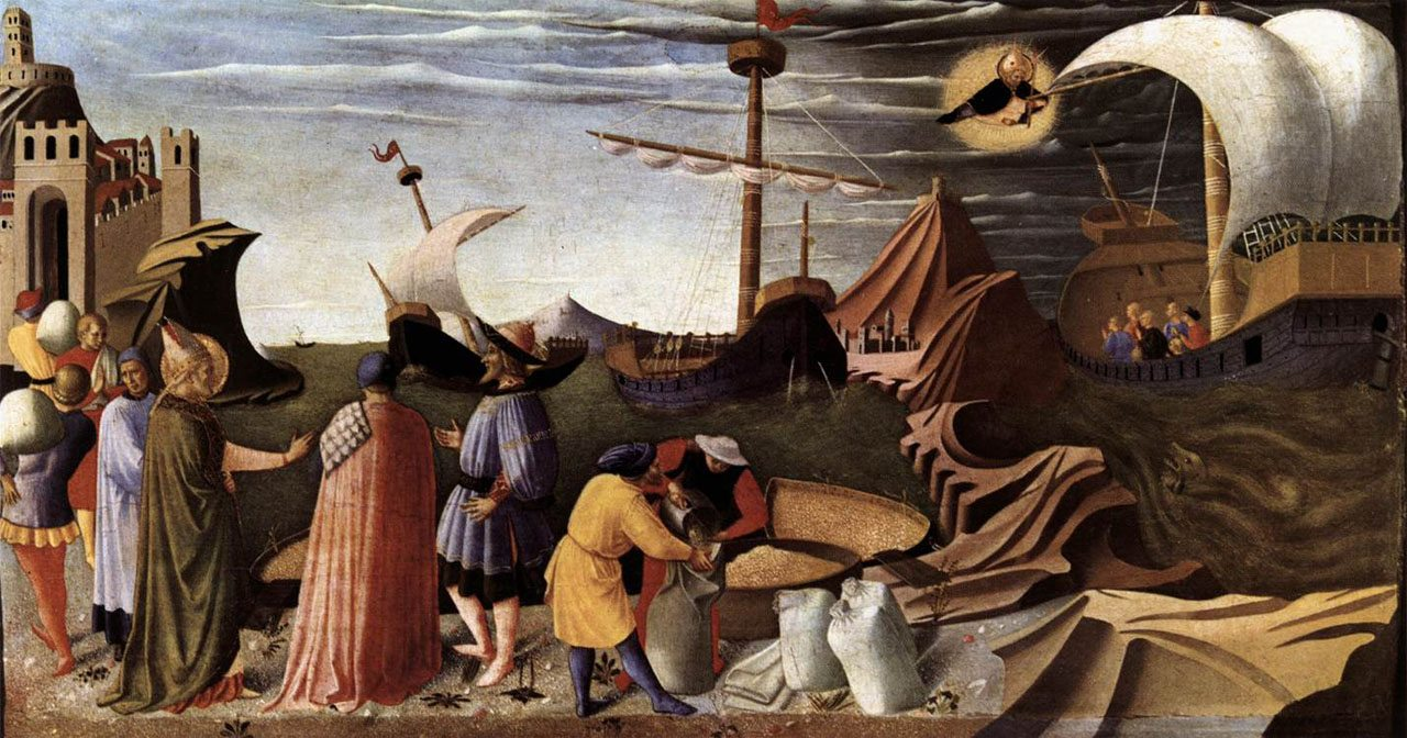 Beato Angelico, S. Nicola procura il grano ai miresi, Pinacoteca Vaticana, Rzym