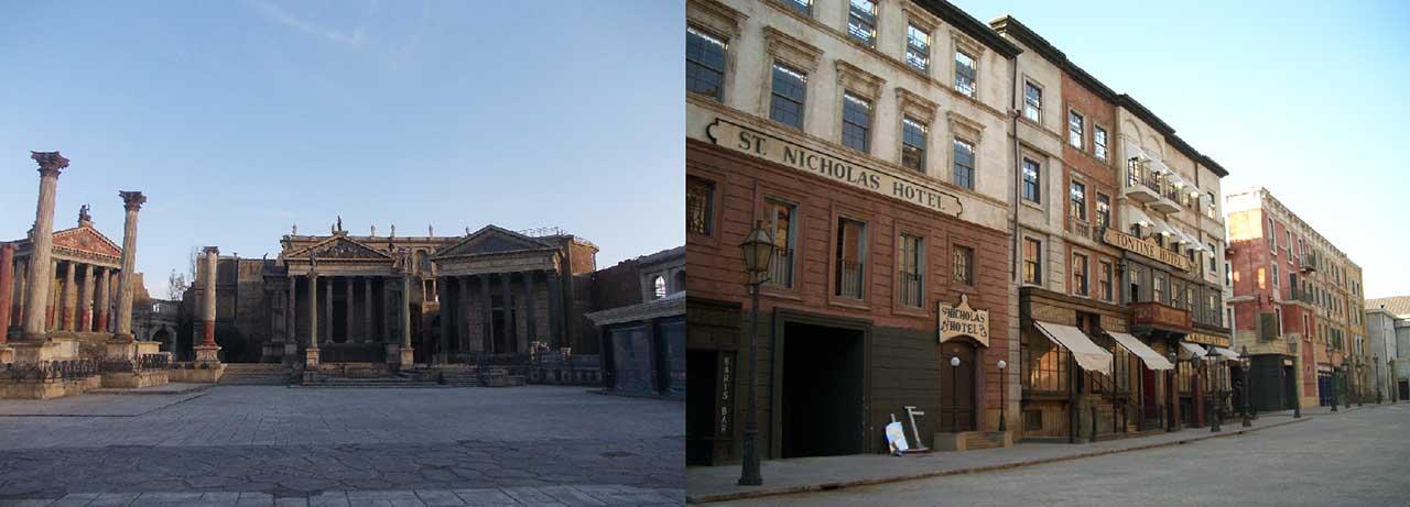 Plany, na których kręcono serial produkcji HBO, Rai Fiction i BBC pt. Rzym (2005-2007) oraz Gangi Nowego Jorku (2002) w reżyserii Martina Scorsese.